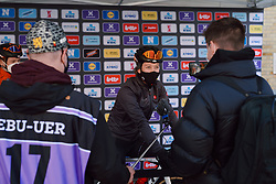 Emma White (USA) is interviewed before the 2020 Gent Wevelgem - Elite Women, a 141.4 km road race from Ieper to Wevelgem, Belgium on October 11, 2020. Photo by Sean Robinson/velofocus.com
