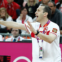 04 August 2012: Russia head coach David Blatt reacts during 77-74 Team Russia victory over Team Spain, during the men's basketball preliminary, at the Basketball Arena, in London, Great Britain.