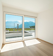 Interior, empty room of a modern apartment with window