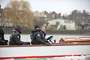 Putney, London, Right Women's Boat Race umpire, Sarah WINCKLESS, enjoyes a moment after the fixture, to drive the Henley umpires launch, Panache., Pre Boat Race Fixture, Oxford University Women's Boat Club {OUWBC} vs Molesey Boat Club, over the River Thames, Championship Course Putney to Mortlake Sunday  22/02/2015  [Mandatory Credit; Peter Spurrier/Intersport-images]
