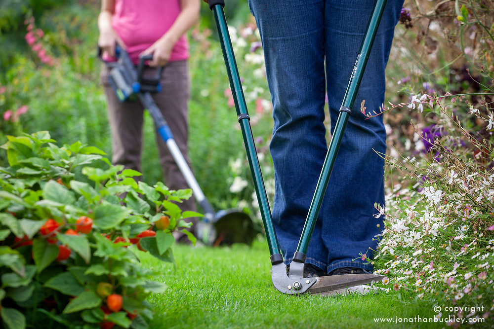 Alternative lawn edging equipment options - mechanical long handled edging shears or electric edge trimmer