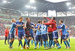 14.05.2016, WWK Arena, Augsburg, GER, 1. FBL, FC Augsburg vs Hamburger SV, 34. Runde, im Bild Der HSV feiert // during the German Bundesliga 34th round match between FC Augsburg and Hamburger SV at the WWK Arena in Augsburg, Germany on 2016/05/14. EXPA Pictures © 2016, PhotoCredit: EXPA/ Eibner-Pressefoto/ Hierm<br /> <br /> *****ATTENTION - OUT of GER*****