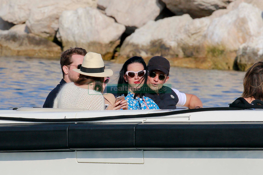 Katy Perry and Orlando Bloom look deeply in love as their reach Eclipse mega yacht off the coast of St Jean Cap Ferrat, southern France, May 17, 2016. Photo by ABACAPRESS.COM    547316_020 Saint-Jean-Cap-Ferrat France