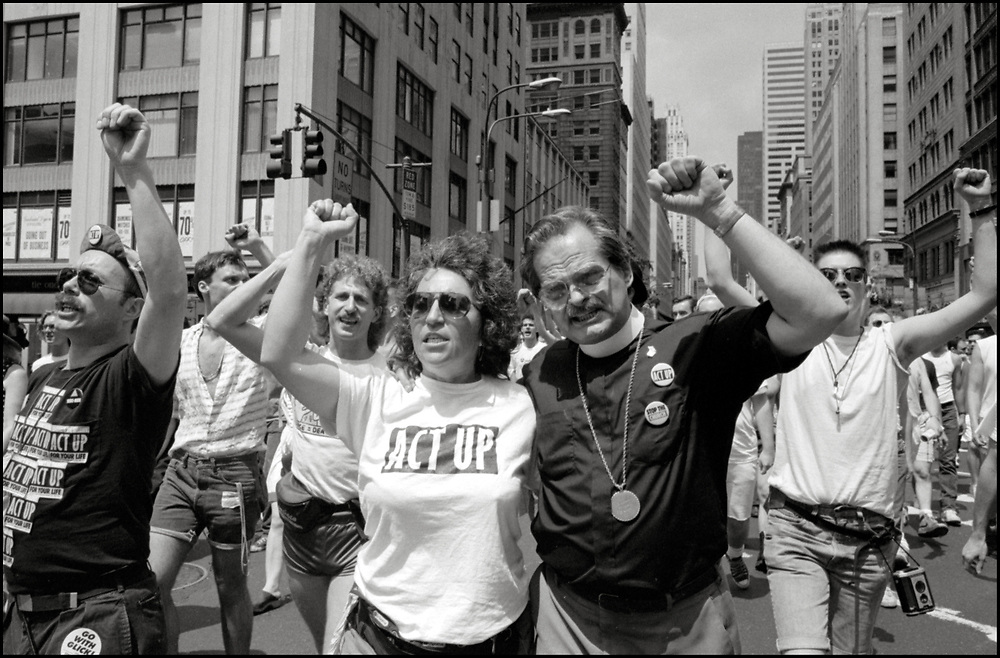 Roma Baran of ACT UP marches in the Gay Pride Parade in New York City in June, 1990.