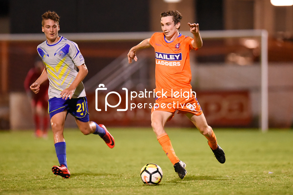 BRISBANE, AUSTRALIA - JANUARY 27: Mitch Hore of Lions in action during the Kappa Silver Boot Grand Final match between Lions FC and Brisbane Strikers on January 27, 2018 in Brisbane, Australia. (Photo by Patrick Kearney)