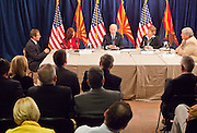 16 NOVEMBER 2009 -- PHOENIX, AZ:  Vice President Joe Biden (CQ) CENTER talks to valley business and Democratic leaders about the economic stimulus Monday. Jason Blumenthal (CQ) founder of Blu Sudz (CQ Blu Sudz) (FAR LEFT, Jeanne Simons (CQ) from Gateway Elementary School, Jane Morris (CQ), Assistant Aviation Director, Phoenix Sky Harbor International Airport, and Donald Karner, (CQ) from Electric Transportation and Engineering (CQ), were seated at the table with the VP. Vice President Joe Biden was at Sky Harbor International Airport Monday morning to participate in a round table discussion the Obama administration's economic stimulus program.      Photo by Jack Kurtz