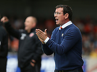 Blackpool manager Gary Bowyer shouts instructions to his team from the dug-out<br /> <br /> Photographer Stephen White/CameraSport<br /> <br /> Football - The EFL Sky Bet League Two - Morecambe v Blackpool - Saturday 13th August 2016 - Globe arena - Morecambe<br /> <br /> World Copyright © 2016 CameraSport. All rights reserved. 43 Linden Ave. Countesthorpe. Leicester. England. LE8 5PG - Tel: +44 (0) 116 277 4147 - admin@camerasport.com - www.camerasport.com