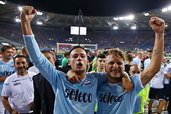 August 13, 2017 - Rome, Italy - Alessandro Murgia of Lazio and Ciro Immobile of Lazio celebration after winning the Italian SuperCup TIM football match Juventus vs Lazio on August 13, 2017 at the Olympic stadium in Rome. (Credit Image: © Matteo Ciambelli/NurPhoto via ZUMA Press)