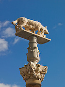 A statue of the Capitoline Wolf, which are seen all over Italy from the original located in Rome. The statue is said to represent to founding of Rome. Here it is seen in the streets of Siena, Tuscany, Italy