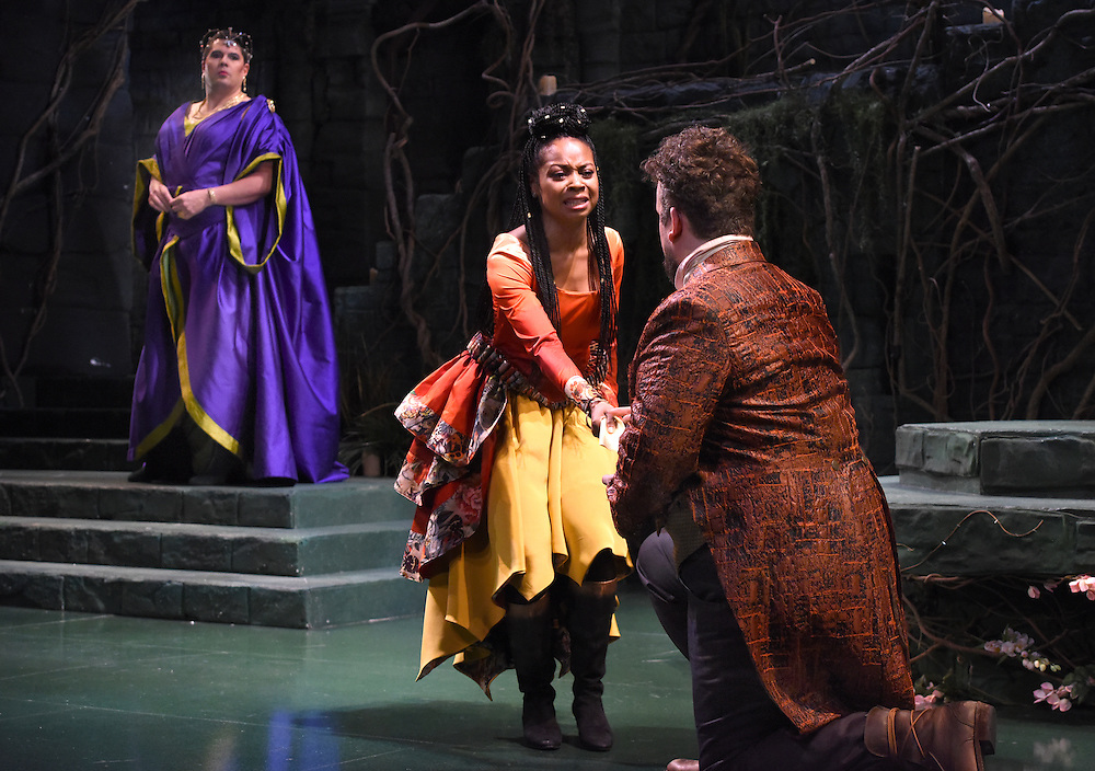 """Mara Lavitt -- Special to the Hartford Courant<br /> March 24, 2016<br /> The run-through of William Shakespeare's """"Cymbeline,"""" at the University Theatre at Yale. Michael Manuel as The Queen, Sheria Irving as Imogen, and Christopher Michael McFarland as Pisanio."""