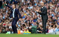 Football - Pep Guardiola of Manchester City and Slaven Bilic manager of West Ham United during the match at the Etihad Stadium between Manchester City and West Ham United. <br /> <br /> 2016 / 2017 Premier League - Manchester City vs. West Ham United<br /> <br /> -- at The Etihad Stadium.<br /> <br /> COLORSPORT/LYNNE CAMERON