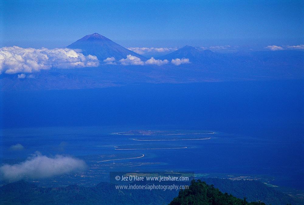 Bali & the gili Isles seen from the crater lake rim of Mount Rinjani, Lombok, NTB, Indonesia