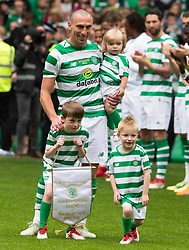 Celtic's Scott Brown with his children during the testimonial match at Celtic Park, Glasgow.