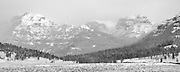 A winter storm starts to clear in the Lamar Valley of Yellowstone National Park.