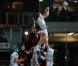 Ospreys' Bradley Davies claims the lineout<br /> <br /> Photographer Simon King/Replay Images<br /> <br /> Guinness Pro14 Round 12 - Dragons v Cardiff Blues - Sunday 31st December 2017 - Rodney Parade - Newport<br /> <br /> World Copyright © 2017 Replay Images. All rights reserved. info@replayimages.co.uk - http://replayimages.co.uk