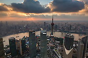 Aerial view of the Shanghai from Lujiazui Pudong area of Shanghai, China.