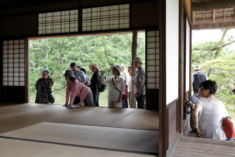tourism at the Shokintei building within the Katsura Imperial Villa grounds in Kyoto Japan