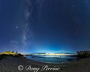 Kukio Bay at dusk with the Milky Way or galactic center rising above the south end of the beach along with the planets Jupiter and Saturn, Hualalai Resort Area, North Kona, Hawaii Island ( the Big Island ), Hawaii, U.S.A. ( Central Pacific Ocean )