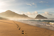 Footsteps in the sand, Red Island Beach, Red Island, Banyuwangi Regency, East Java, Indonesia, Southeast Asia