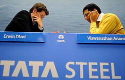 17-01-2011 SCHAKEN: TATA STEEL CHESS TOURNAMENT: WIJK AAN ZEE  <br /> Viswanathan Anand IND and Erwin l Ami NED<br /> ©2010-WWW.FOTOHOOGENDOORN.NL