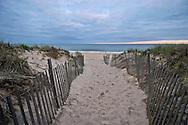 Beach entrance between snow fences, Sagg Main Beach, Sagaponack, Town of Southampton, New York, Long Island