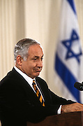 Israeli Prime Minister Benjamin Netanyahu during a joint press conference with President Bill Clinton February 13, 1997 In Washington, DC.