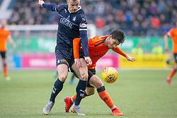 Falkirk's Deimantas Petraviciusa and Dundee United's Ian Harkes. Falkirk 1 v 1 Dundee United, Scottish Championship game played 23/2/2019 at The Falkirk Stadium.
