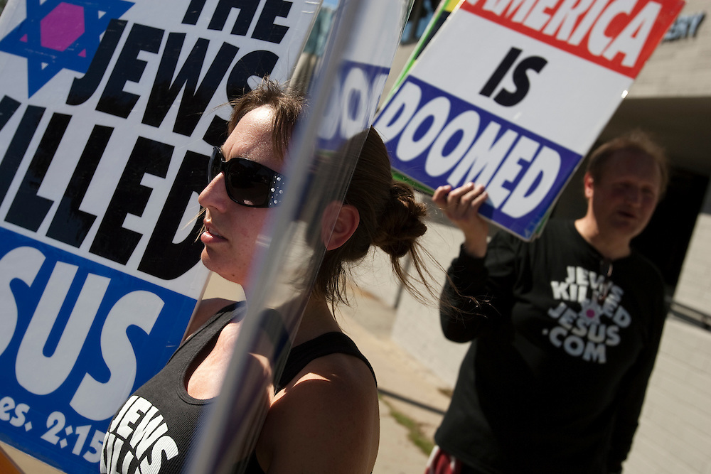 Members of the Westboro Baptist Church demonstrate in Los Angeles. Picketing Yeshiva University High School for boys, a jewish school. (NOTE: Although she would not provide her name, the woman at left is believed to be Libby Phelps)