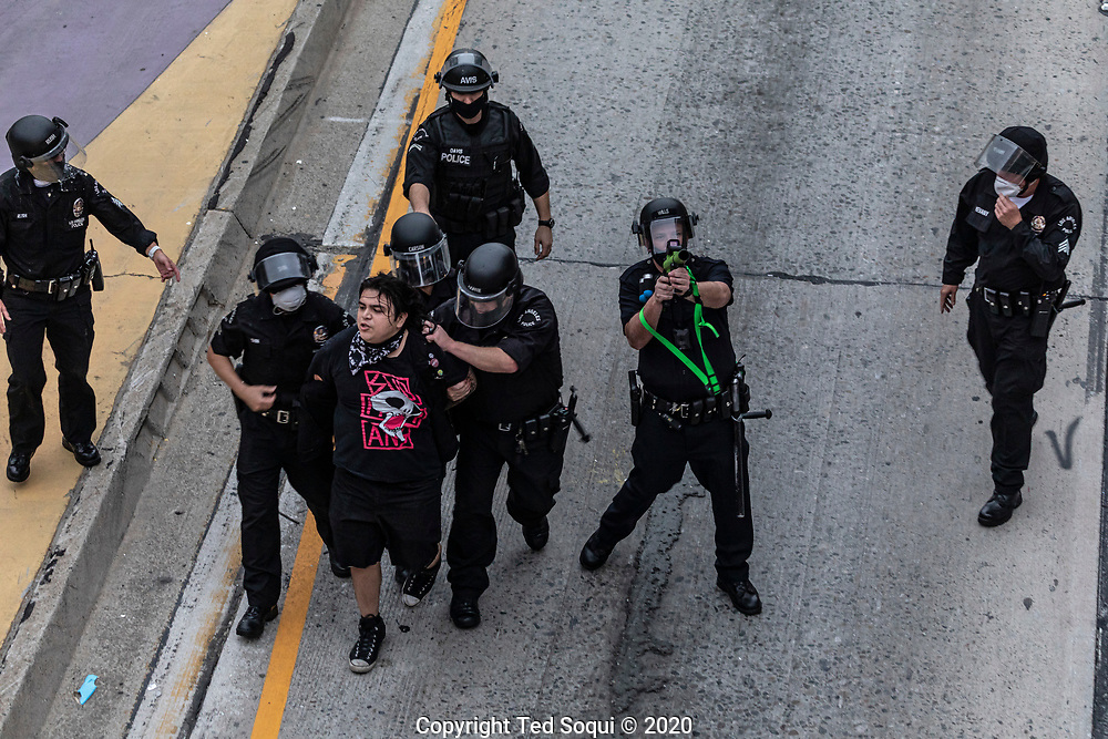 Demonstrators in downtown Los Angeles take over the 110 freeway and damage several businesses in the area. They are demonstrating over the death of George Floyd who was killed by police officers in Minneapolis, Minnesota.<br /> 5/29/2020 Downtown Los Angeles, CA USA<br /> (Photo by Ted Soqui)