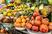 Fruit and vegetable on display at an outdoor fruit juice and smoothie stall in Tel Aviv, Israel