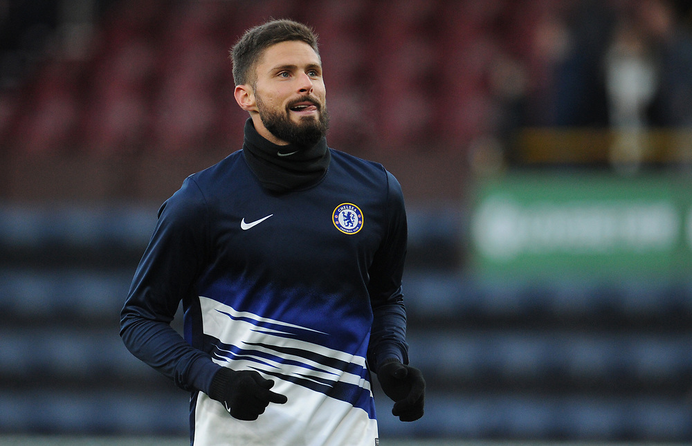 Chelsea's Olivier Giroud during the pre-match warm-up <br /> <br /> Photographer Kevin Barnes/CameraSport<br /> <br /> The Premier League - Burnley v Chelsea - Saturday 26th October 2019 - Turf Moor - Burnley<br /> <br /> World Copyright © 2019 CameraSport. All rights reserved. 43 Linden Ave. Countesthorpe. Leicester. England. LE8 5PG - Tel: +44 (0) 116 277 4147 - admin@camerasport.com - www.camerasport.com