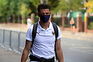 AFC Wimbledon midfielder Callum Reilly (33) arriving for the game during the EFL Sky Bet League 1 match between AFC Wimbledon and Plymouth Argyle at the Kiyan Prince Foundation Stadium, London, England on 19 September 2020.