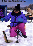 Fishing, Pennsylvania Outdoor recreation, Fishing PA Park Lake, Ice Fishing, Family Ice Fishing on Lake, Hills Creek State Park, PA