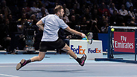 Tennis - 2017 Nitto ATP Finals at The O2 - Day Seven<br /> <br /> Semi Finals: Grigor Dimitrov (Bulgaria) Vs Jack Sock (United States)<br /> <br /> Jack Sock (United States) races into the net to lift the ball over it at the O2 Arena <br /> <br /> COLORSPORT/DANIEL BEARHAM