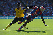 Bakary Sako of Crystal Palace tumbles while Micah Richards of Aston Villa challenging.  Barclays Premier league match, Crystal Palace v Aston Villa at Selhurst Park in London on Saturday 22nd August 2015.<br /> pic by John Patrick Fletcher, Andrew Orchard sports photography.