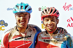 ROBERTSON, SOUTH AFRICA - MARCH 19: From left, Simon Vitzthum and Martin Fanger at the finish of stage one's 110km from Robertson on March 19, 2018 in Cape Town, South Africa. Mountain bikers from across South Africa and internationally gather to compete in the 2018 ABSA Cape Epic, racing 8 days and 658km across the Western Cape with an accumulated 13 530m of climbing ascent, often referred to as the 'untamed race' the Cape Epic is said to be the toughest mountain bike event in the world. (Photo by Dino Lloyd)