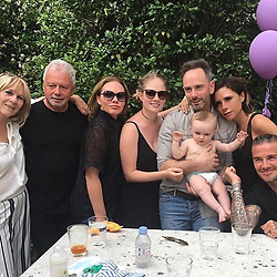 """Victoria Beckham releases a photo on Instagram with the following caption: """"Family day to celebrate Harpers birthday x We love u all so much x kisses @davidbeckham @jackie.adams_  @louisesadams @christianadams_79 @emma.strafford @sandra_beckham49 @lynnebeckham72 @joannebeckham @krissydonners @brooklynbeckham @romeobeckham @cruzbeckham @libbyyadams x VB \u2728love u all x"""". Photo Credit: Instagram *** No USA Distribution *** For Editorial Use Only *** Not to be Published in Books or Photo Books ***  Please note: Fees charged by the agency are for the agency's services only, and do not, nor are they intended to, convey to the user any ownership of Copyright or License in the material. The agency does not claim any ownership including but not limited to Copyright or License in the attached material. By publishing this material you expressly agree to indemnify and to hold the agency and its directors, shareholders and employees harmless from any loss, claims, damages, demands, expenses (including legal fees), or any causes of action or allegation against the agency arising out of or connected in any way with publication of the material."""