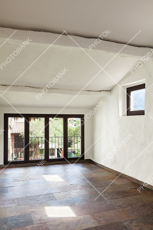 interior rustic house, large room with windows