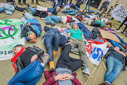 A die in after the nurses and doctors march on the department of health in Whitehall - The picket line at St Thomas' Hospital. Junior Doctors stage another 48 hours of strike action against the new contracts due to be imposed by the Governemnt and health minister Jeremy Hunt.Nurses are protesting about the loss of their training bursaries in 2017.