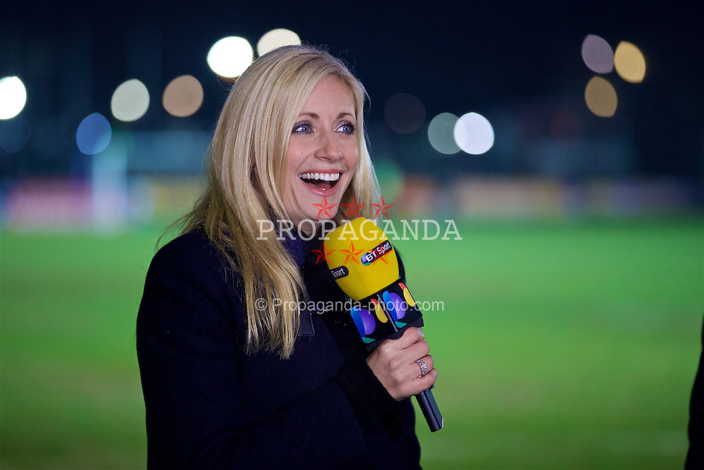NEWPORT, WALES - Wednesday, December 21, 2016: BT Sport reporter Lynsey Hipgrave during the FA Cup 2nd Round Replay match between Newport County and Plymouth Argyle at Rodney Parade. (Pic by David Rawcliffe/Propaganda)