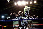 Wrestler dressed as skeleton on the ropes of the ring. Lucha Libre wrestling origniated in Mexico, but is popular in other latin Amercian countries, including in La Paz / El Alto, Bolivia. Male and female fighters participate in the theatrical staged fights to an adoring crowd of locals and foreigners alike.