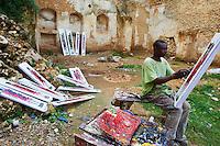 Tanzanie, archipel de Zanzibar, ile de Unguja (Zanzibar), ville de Zanzibar, quartier Stone Town classe patrimoine mondial UNESCO, artiste peintre // Tanzania, Zanzibar island, Unguja, Stone Town, unesco world heritage, artist painter