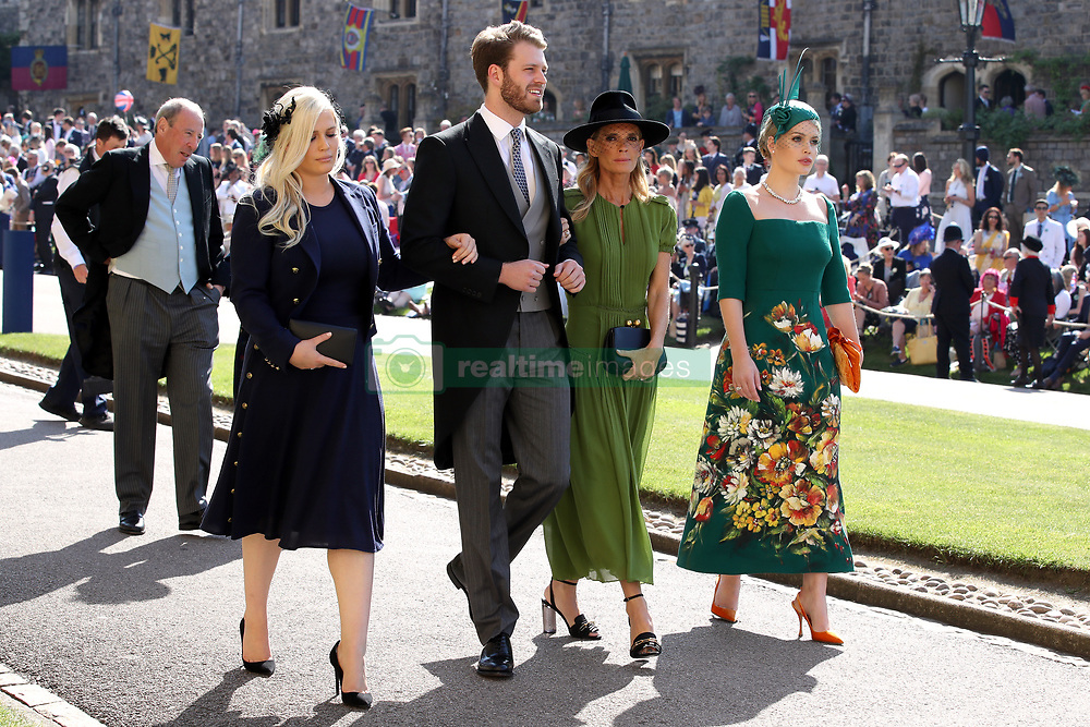 Eliza Spencer, Louis Spencer, Victoria Aitken and Kitty Spencer arrive at St George's Chapel at Windsor Castle for the wedding of Meghan Markle and Prince Harry.