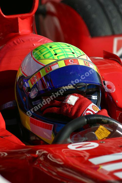 Felipe Massa (Ferrari) with his helmet on during testing at Monza on August 31 2006. Photo: Grand Prix Photo