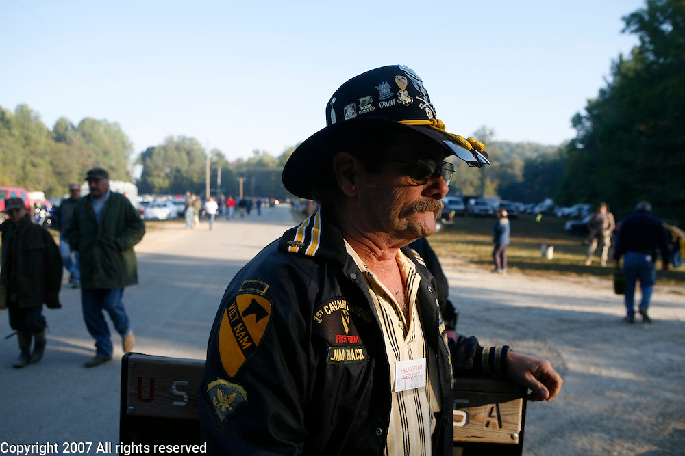 """Jim """"Blackie"""" Black, who served with the 1st Squadron, 9th Cavalry in 1967 and 1968 hangs out in the helicopter area during the Machine Gun Shoot at Knob Creek, Kentucky, October 12, 2007. ..."""