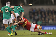 Jack O'Donoghue of Ireland is tackled by DTH Van Der Merve of Canada during the 2016 Guinness Series  autumn international rugby match, Ireland v Canada at the Aviva Stadium in Dublin, Ireland on Saturday 12th November 2016.<br /> pic by  John Halas, Andrew Orchard sports photography.