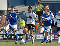 Photo: Ashley Pickering.<br /> Ipswich Town v Derby County. Coca Cola Championship. 14/04/2007.<br /> Giles Barnes of Derby (c) takes on David Wright of Ipswich
