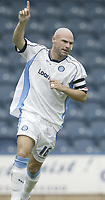 Photo: Aidan Ellis.<br /> Rochdale v Wycombe Wanderers. Coca Cola League 2. 16/09/2006.<br /> Wycombe's Tommy Mooney celebrates his goal