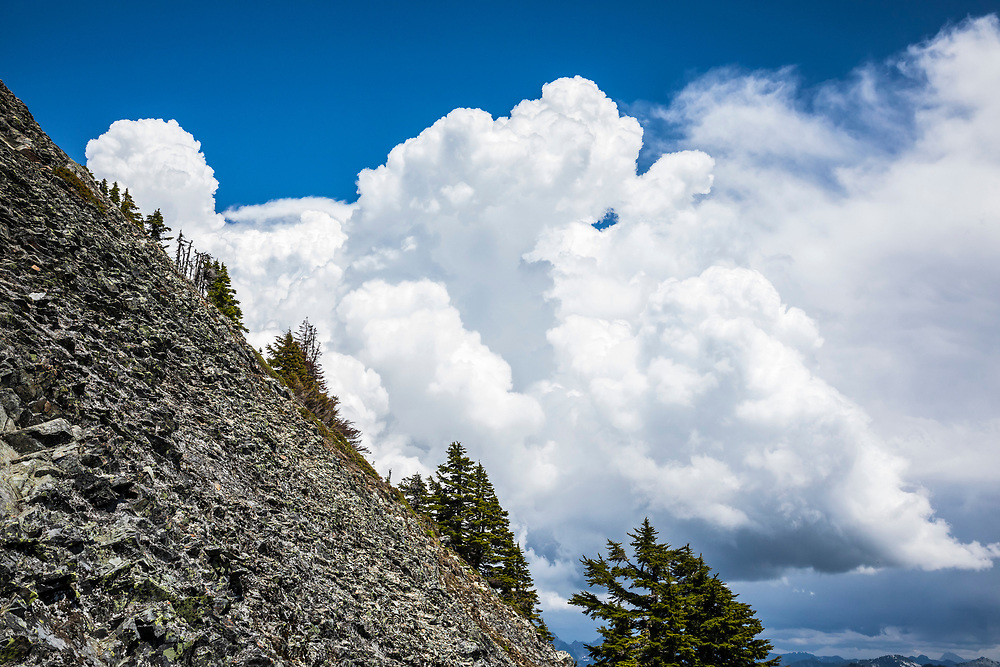 The summit slope of McClellan Butte in the Washington Central Cascades with thunderstorms building in the background, USA.
