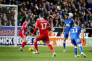Scunthorpe Utd forward Lee Novak (17) slots this shot into the corner for his second goal 0-2 during the EFL Sky Bet League 1 match between Peterborough United and Scunthorpe United at London Road, Peterborough, England on 1 January 2019.